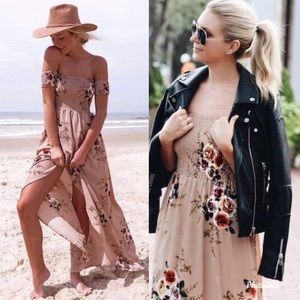 Dresses & Skirts - Boho off shoulder cinched khaki florals dress